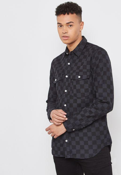 قميص جينز بطبعات مربعات
