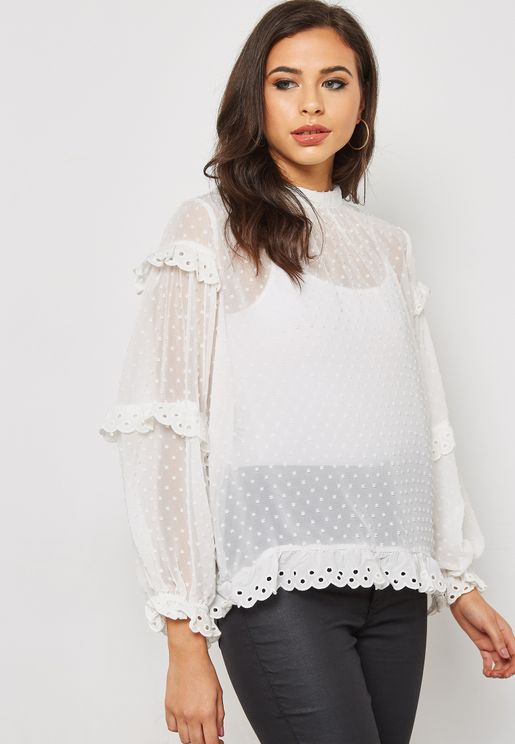 High Neck Tiered Sleeve Top