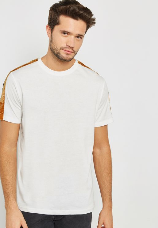 Taped Sleeve Crew Neck  T-Shirt