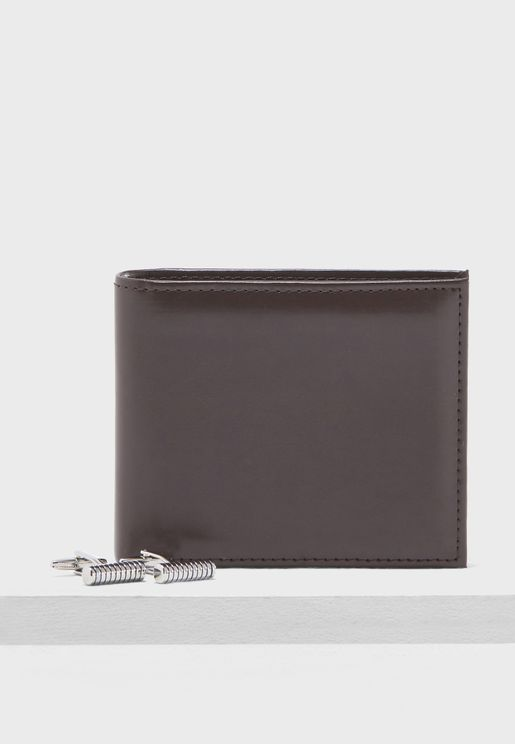 Leather Wallet And Cufflink Set