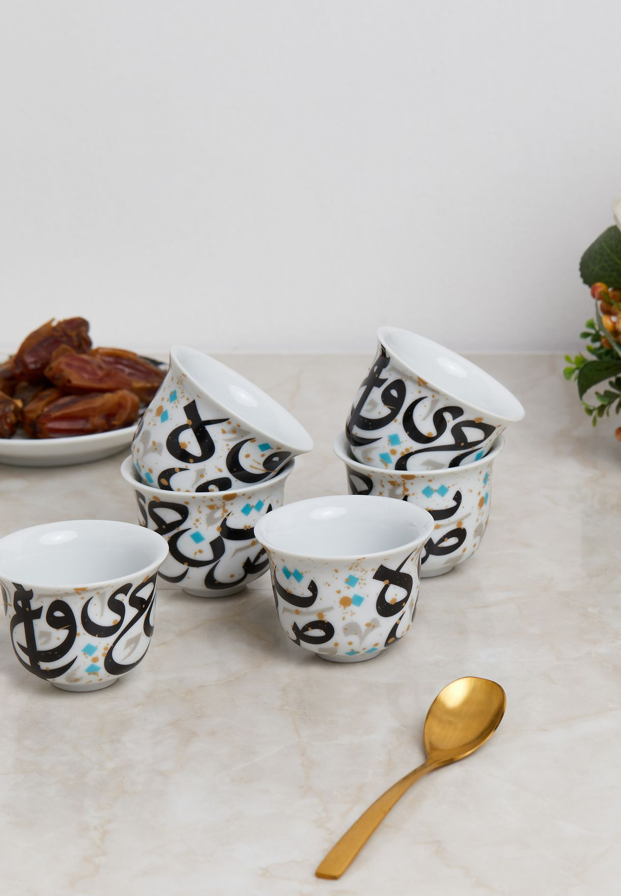 6 Pack Tarateesh Arabic Coffee Cup Set