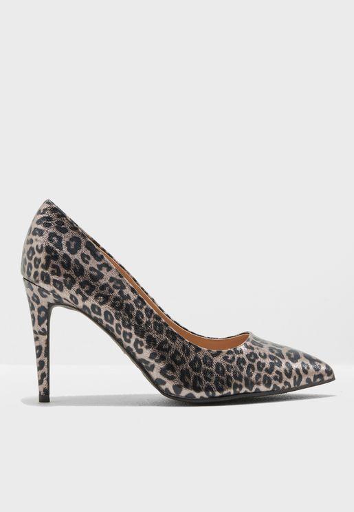 Wide Fit Leopard Print Emily Court Shoe