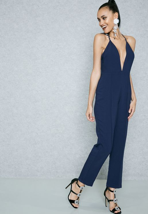 Lace Back Plunge Jumpsuit