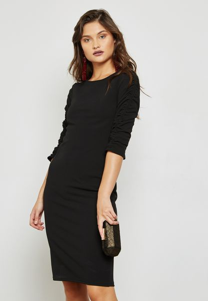 Ruched Sleeve Bodycon Dress