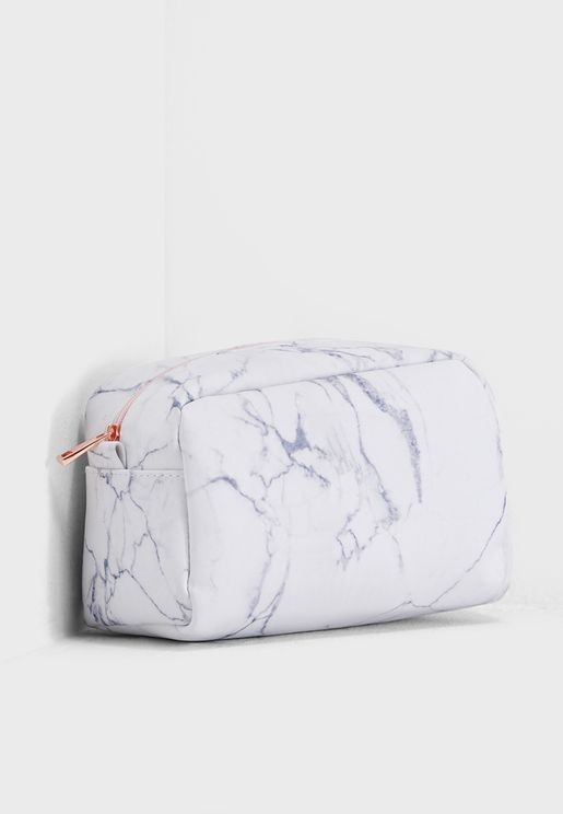 Large Marble Effect Cosmetic Bag