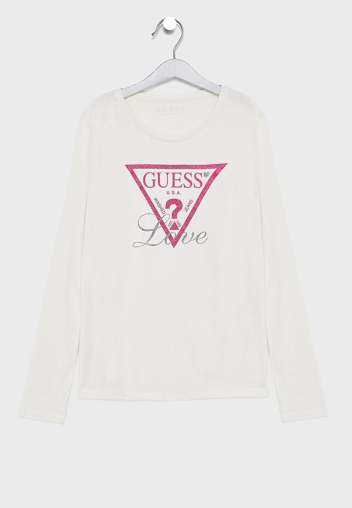 aba96d8c2a5b Shop Guess white Teen Logo T-Shirt J83I02K5M20 for Kids in Bahrain ...