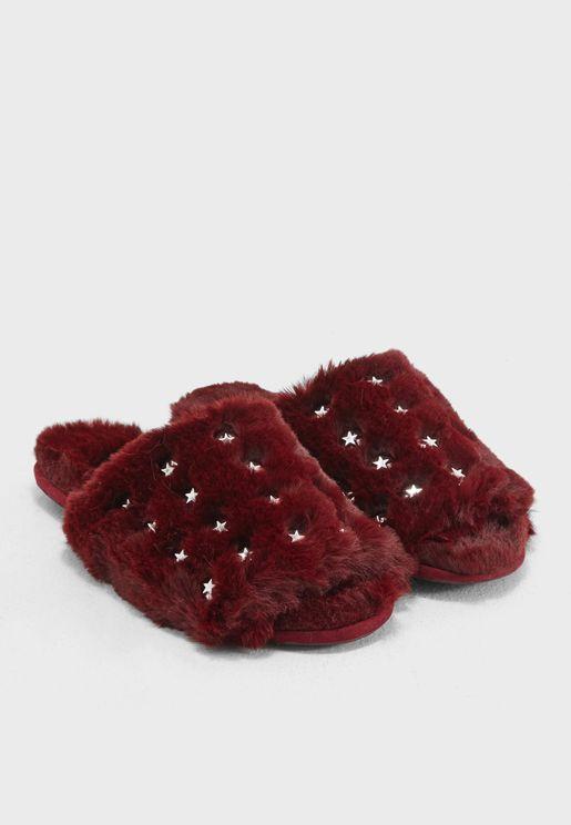 Star Studded Fur Lined Sliders