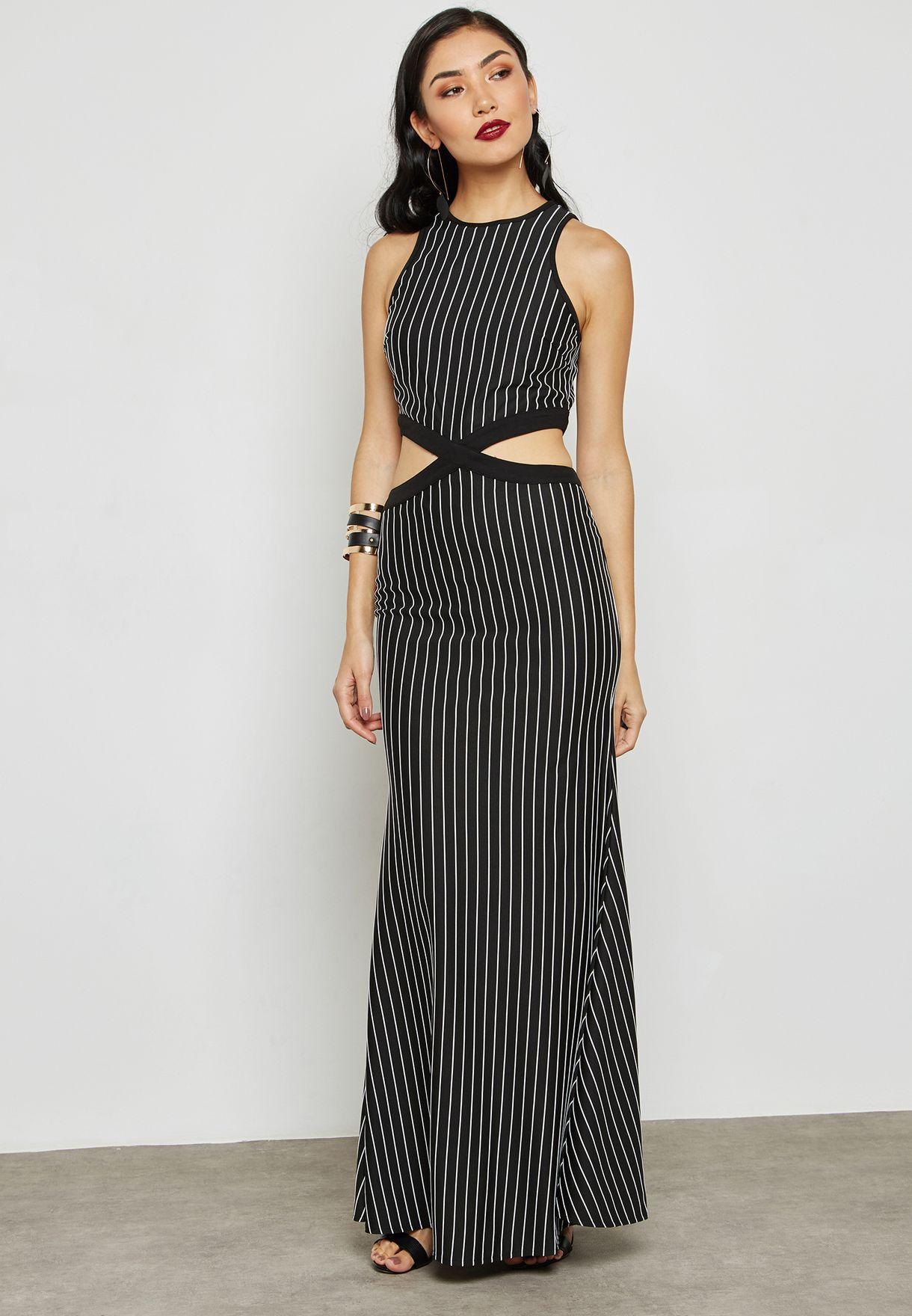 fdcfa2331a245 Shop The Clothing Company black Stripe Maxi Dress HD2779 for Women in Oman  - TH263AT89TWC