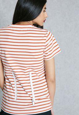 Striped Zip Detail T-Shirt