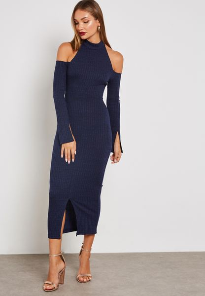 High Neck Cold Shoulder Ribbed Dress