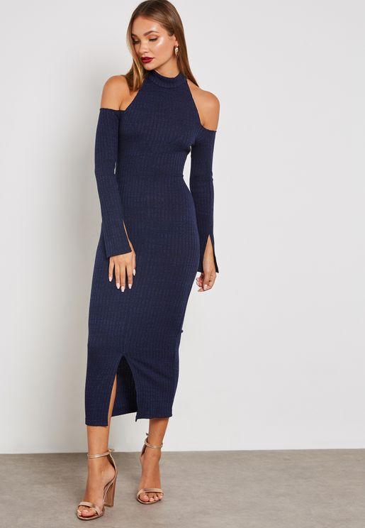 High Neck Cold Shoulder Ribbed Dress