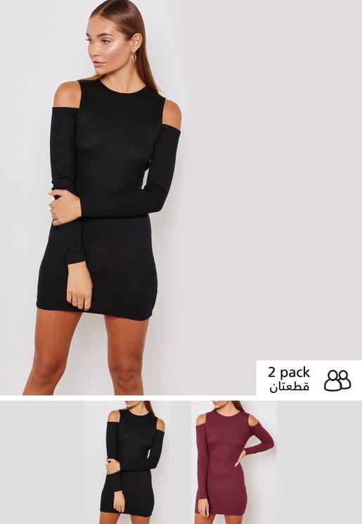 2 Pack Rib Cold Shoulder Dress