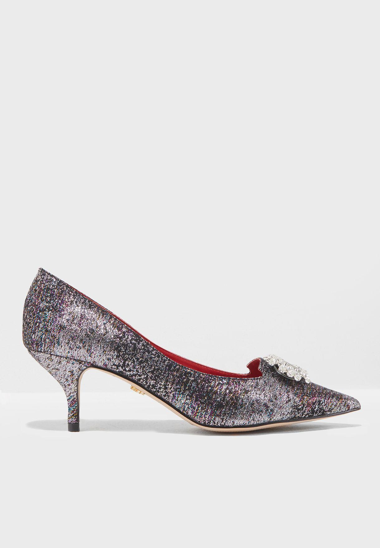 78597de3e6d53 Shop Kurt Geiger London metallic Pia Kitten Heeled Sandals PIA JEWEL ...