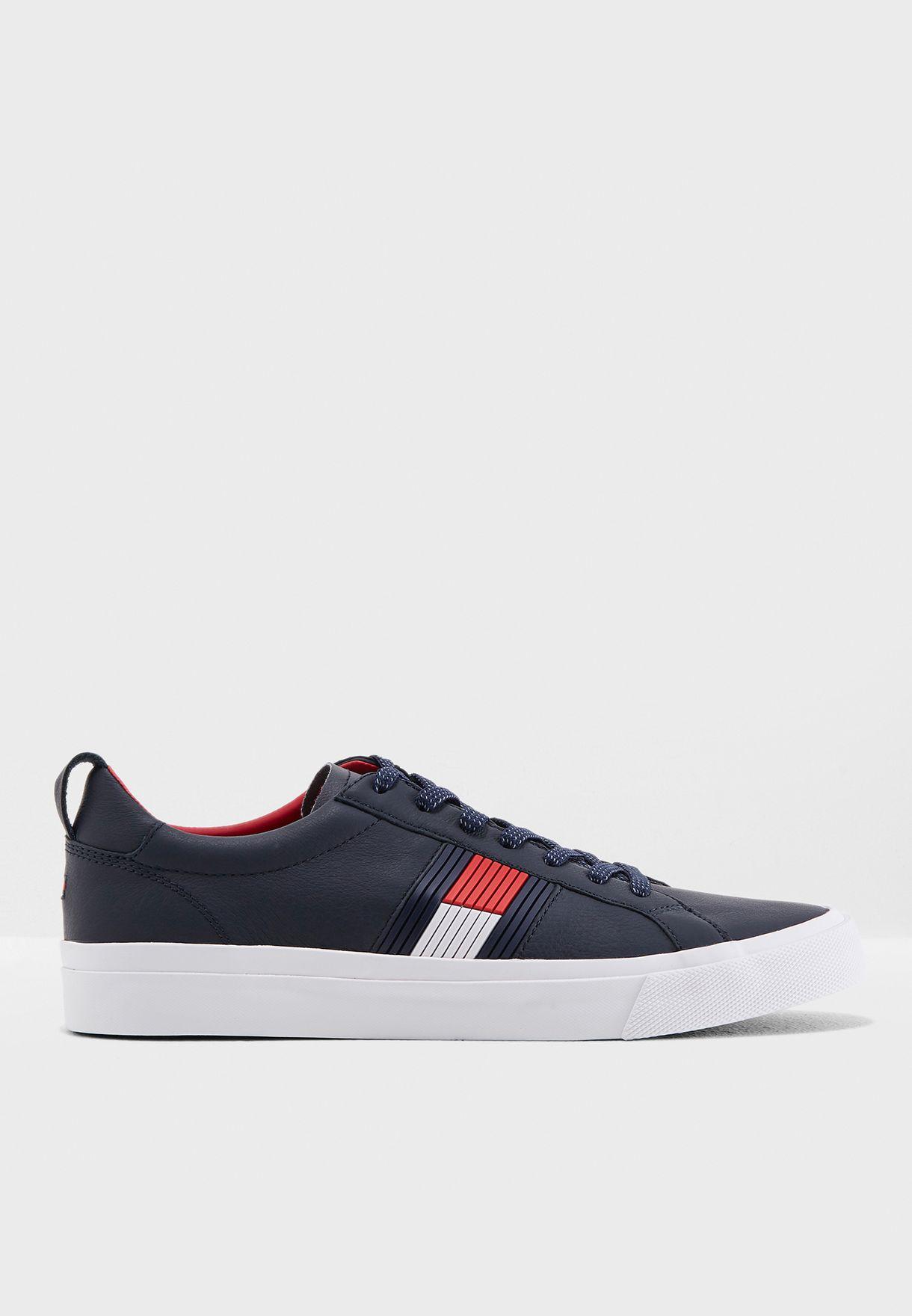 eeb869e1ad4337 Shop Tommy Hilfiger navy Flag Detail Sneakers FM0FM01712-403 for Men ...