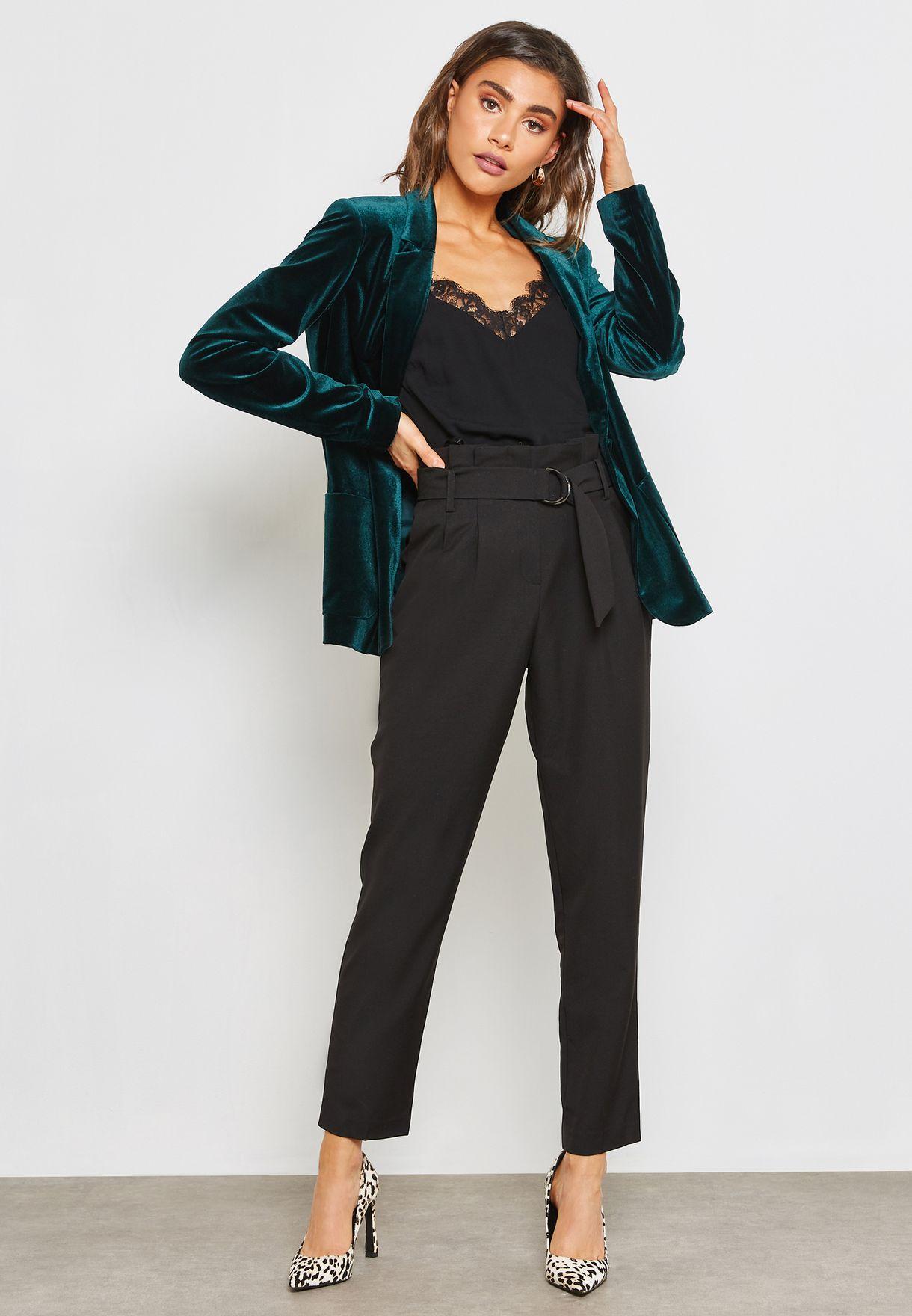 79eea3656ee5 Shop Miss Selfridge black Paperbag Pants 43S60XBLK for Women in ...