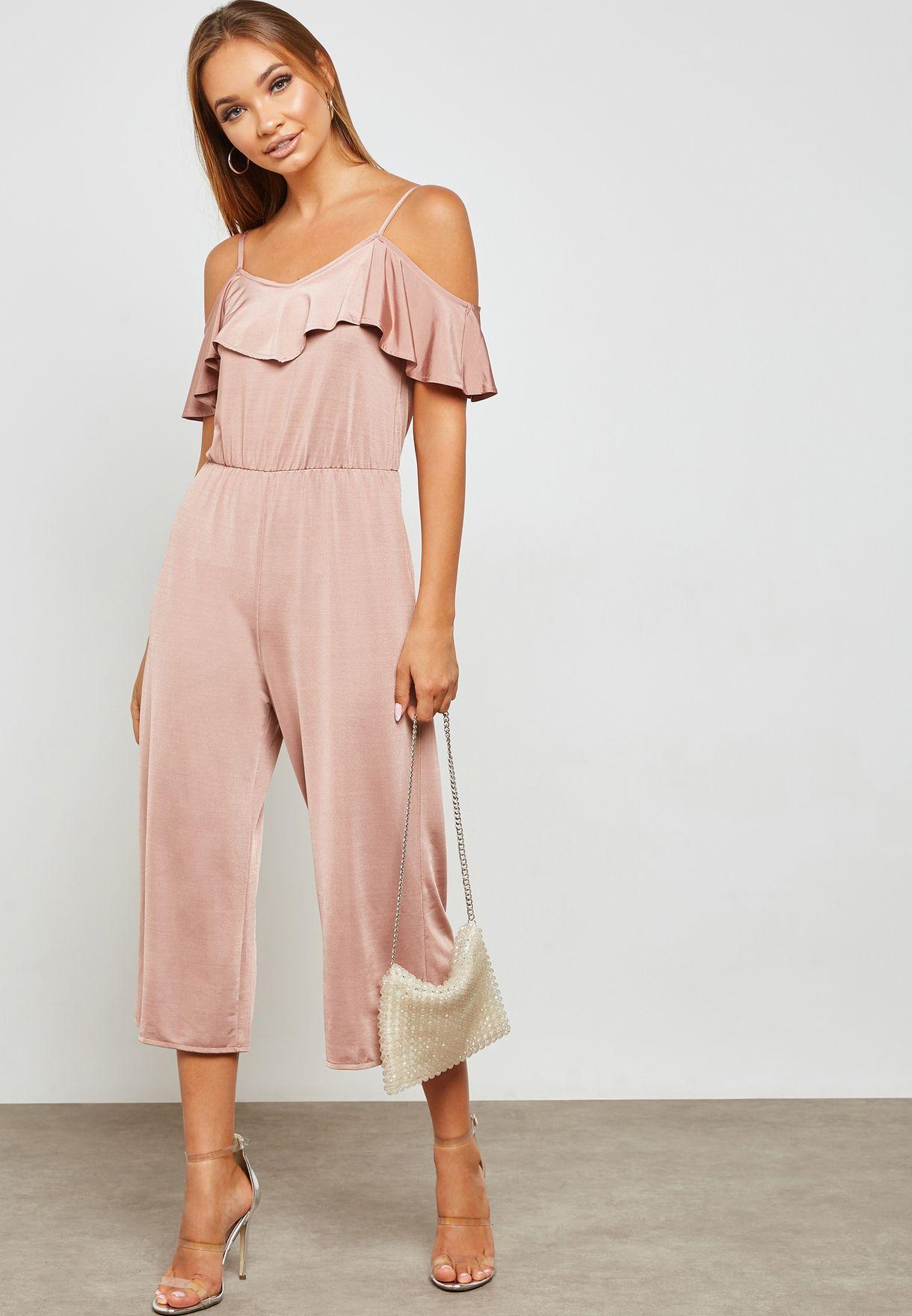 c4f1a90d4c1c Shop Miss Selfridge Petite pink Ruffle Detail Cropped Jumpsuit ...