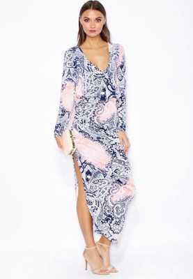 Threadz Printed Ruched Side Slit Dress