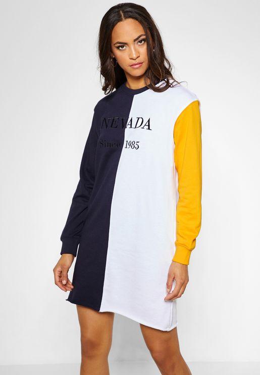 Oversized Colorblock Slogan Sweatshirt Dress