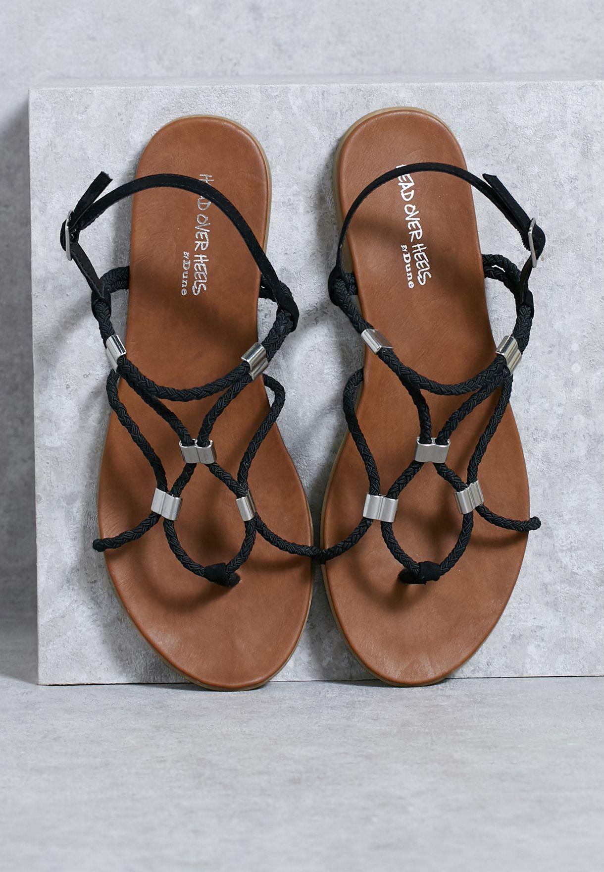 7fd47eb4af2 Shop Dune Head Over Heels black Twist Braided Flat Sandals ...