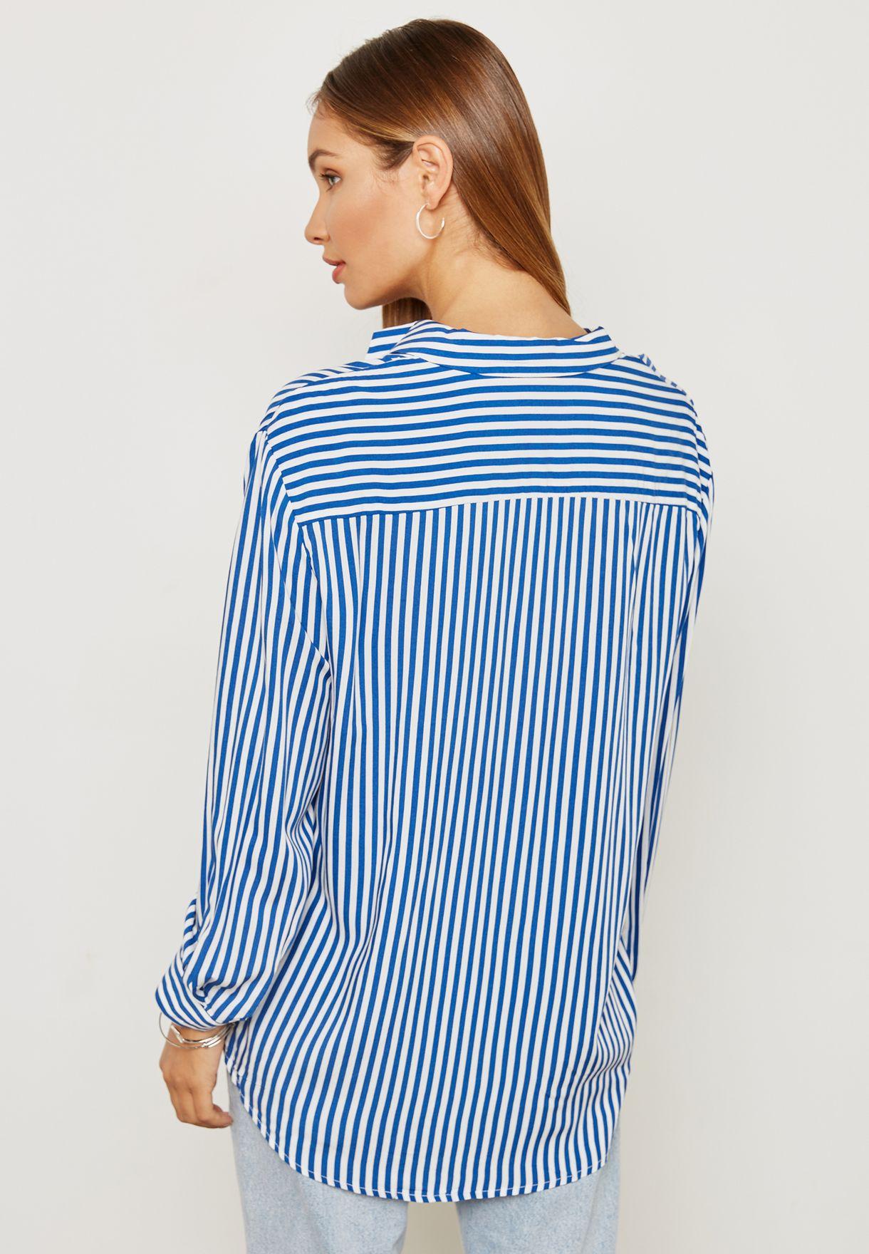 Striped Split Neck Top