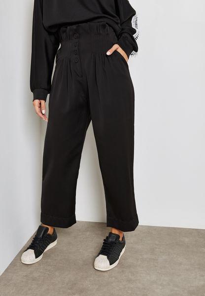 Shirred High Waisted Pants