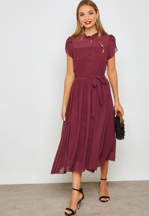 Ruffle Pleated Self Tie Dress