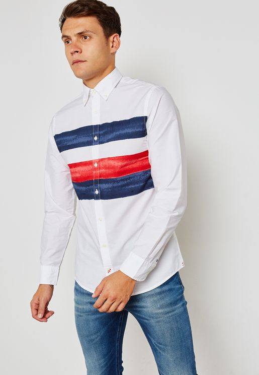 Global watercolor striped shirt