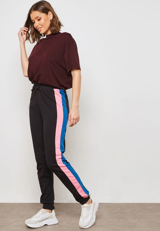 Contrast Side Paneled Joggers