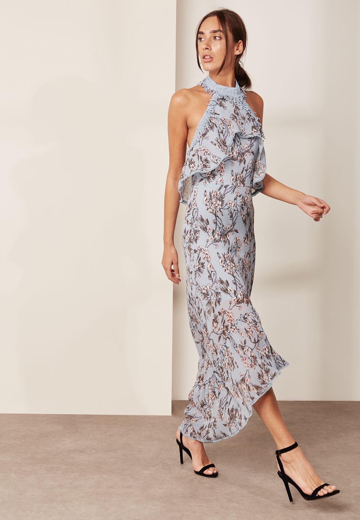 فستان بياقة مع رسن