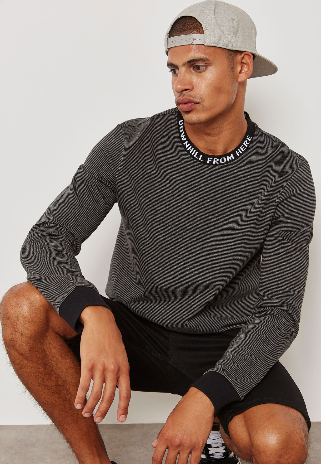 b8cd09f740 Shop HUF grey Downhill Striped T-Shirt KN00050 for Men in Kuwait ...