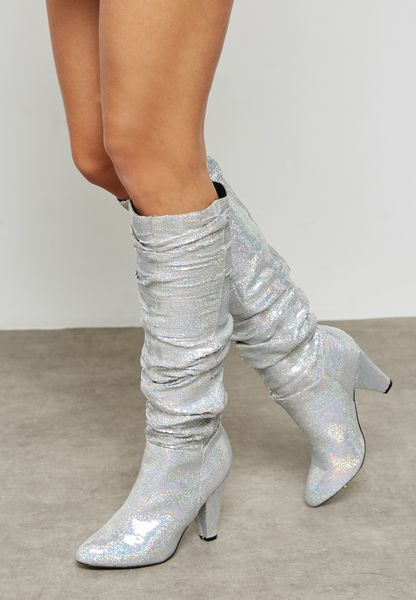 Sequin Round Toe Long Boots
