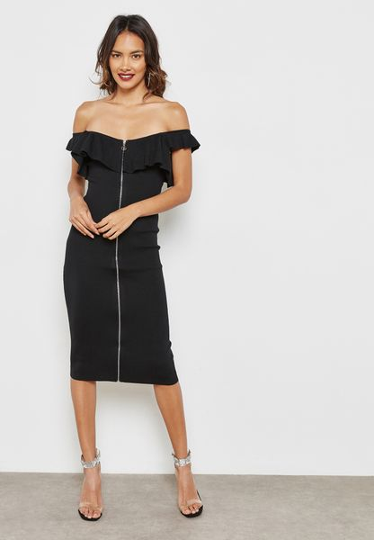 Ribbed Zip Through Ruffle Bardot Dress