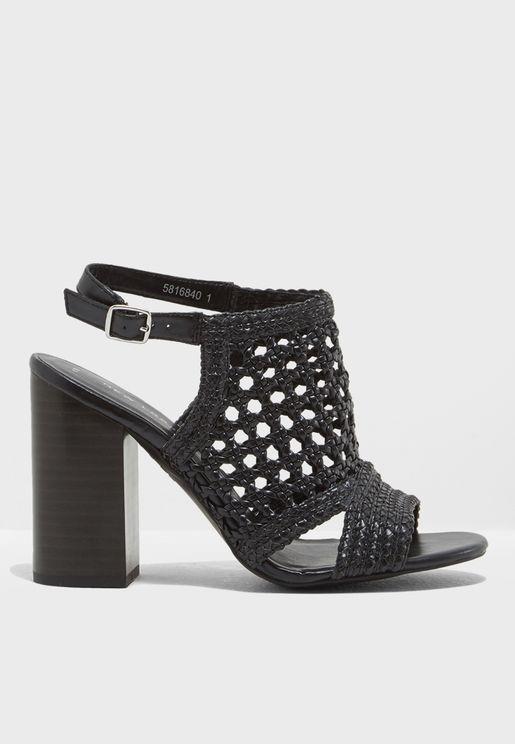 Woven Block Heel Sandal