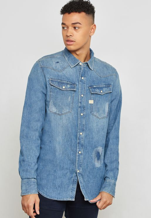Grafted Denim Shirt