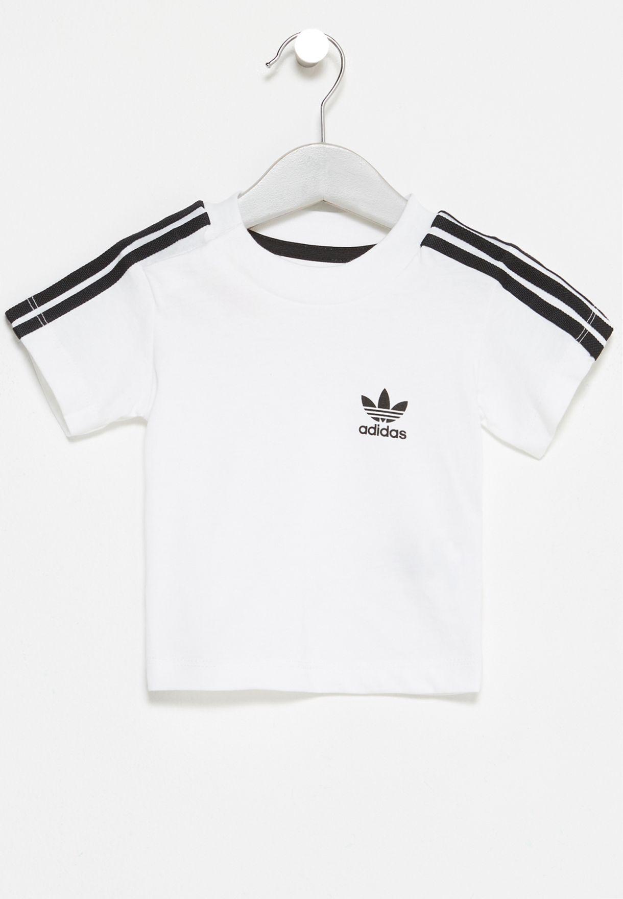 dd7385bebbc Shop adidas Originals white Infant 3 Stripe T-Shirt BQ4055 for Kids ...