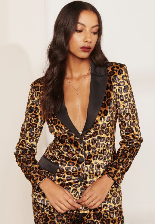 Cheetah Print Single Breasted Blazer