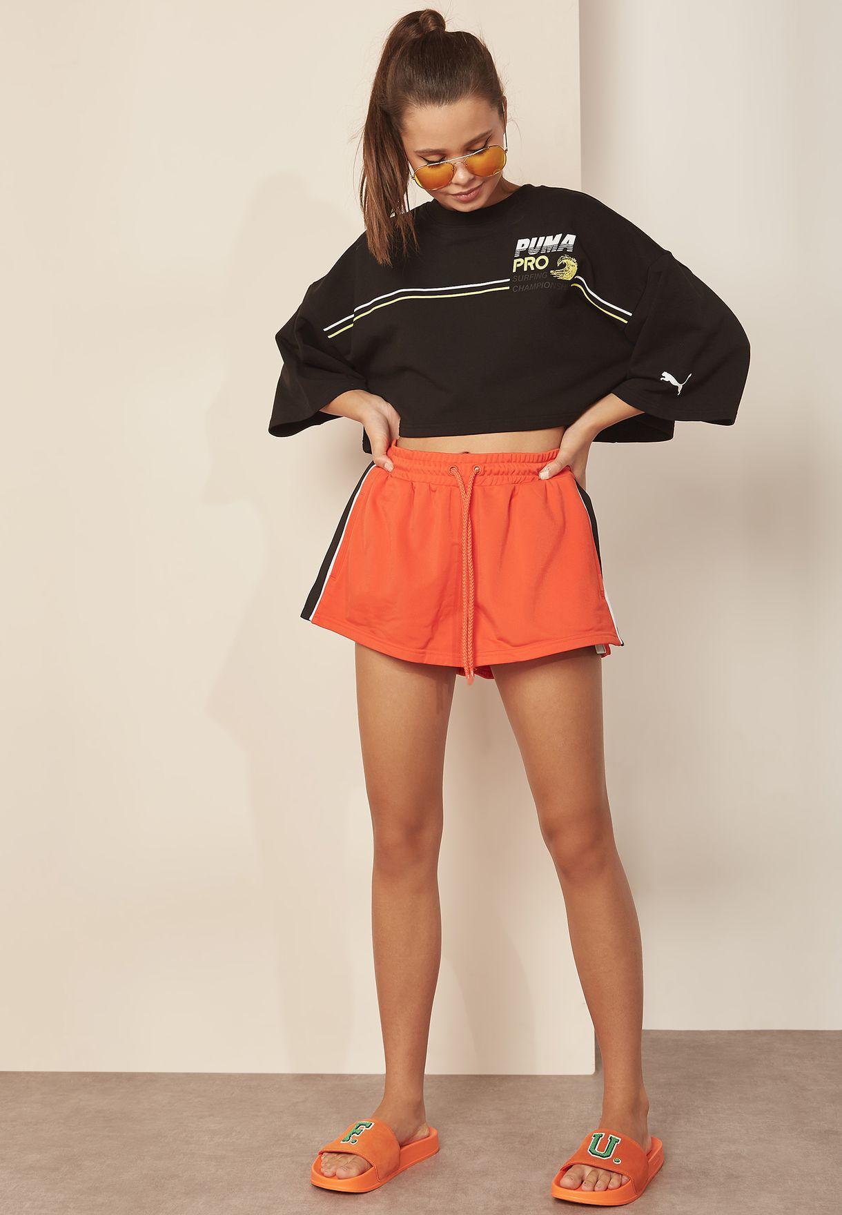 5f7733bfecb5 Shop PUMA x Fenty orange Side Split Shorts 57726101 for Women in ...