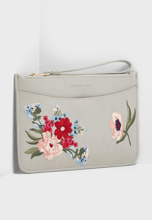 Tara Embroidered Zip Top Clutch