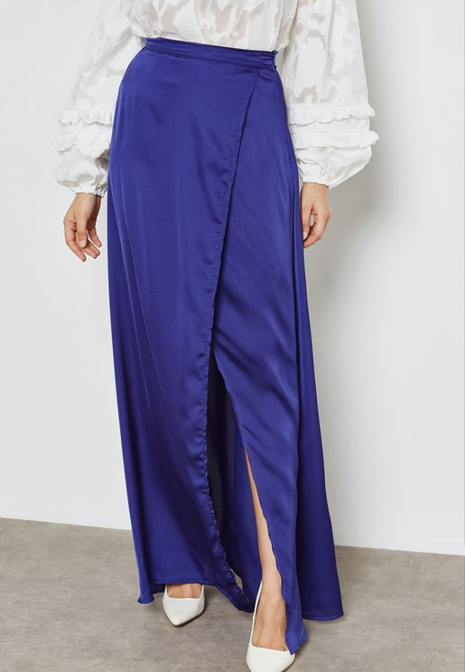 Wrap Belted Maxi Skirt