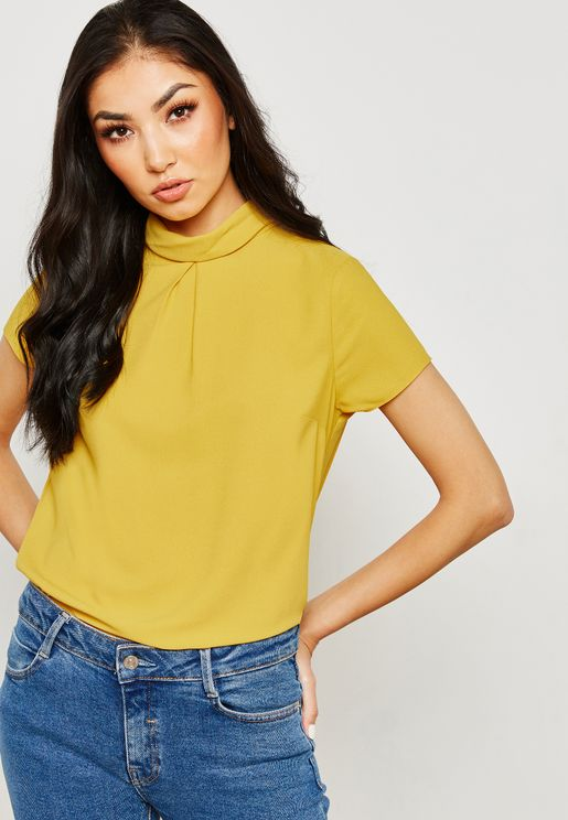 Back Tie High Neck Top