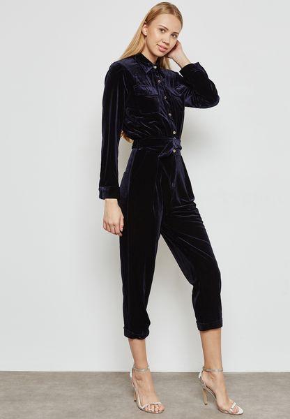 Belted Cropped Velvet Jumpsuit
