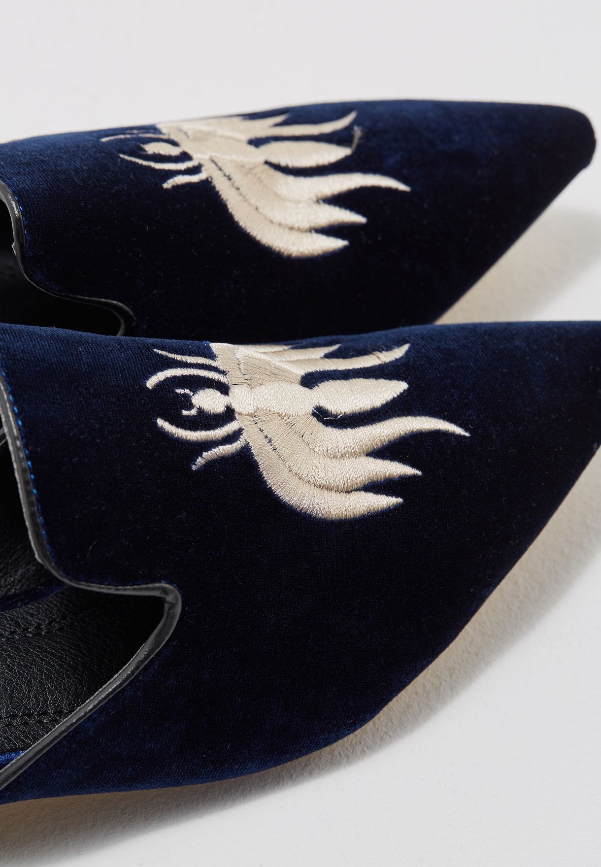 Mules With Bee Embroidery