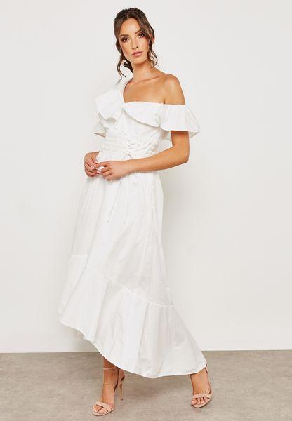 Ruffle One Shoulder Detail Dress