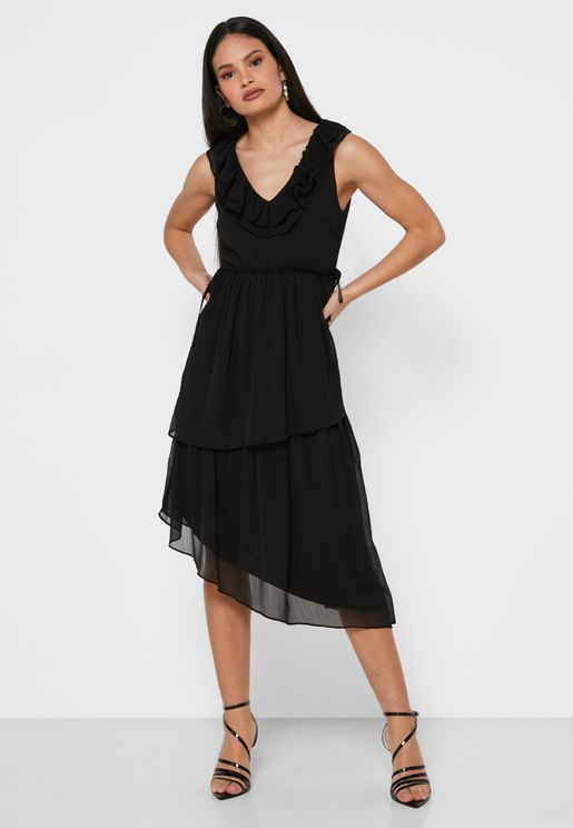 Ruffle Detail Asymmetric Dress
