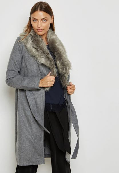 Detachable Faux Fur Collar Self Tie Jacket