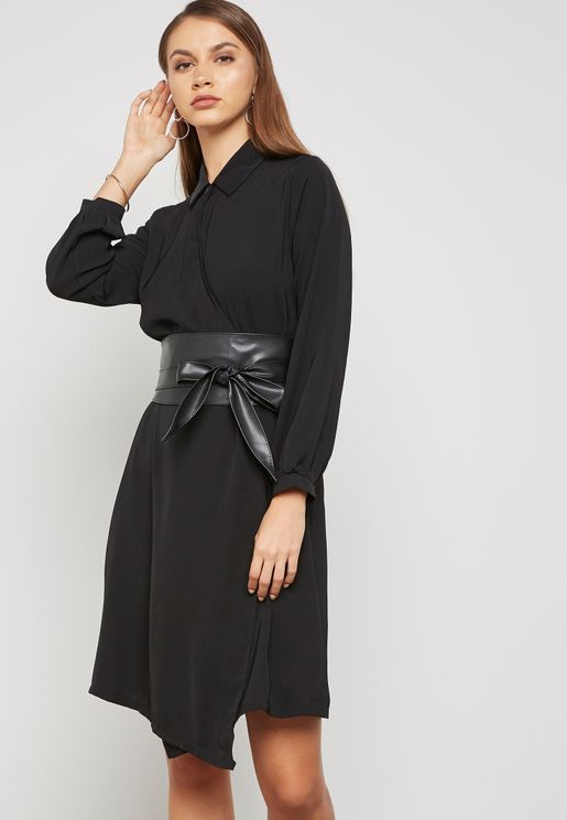 Wrap Front Detail Belted Dress