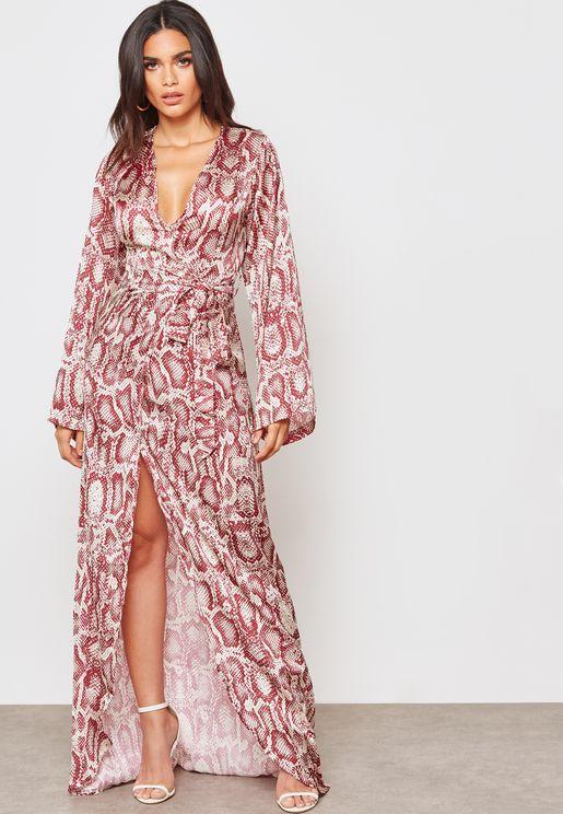Snakeprint Wrap Front Maxi Dress