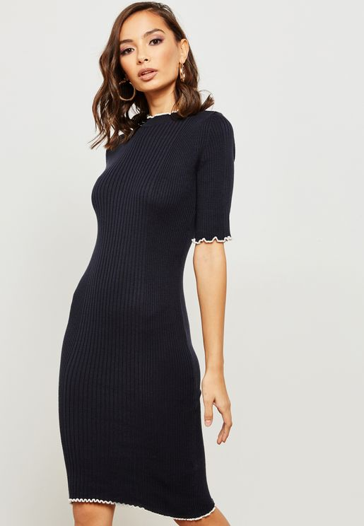 Contrast Ruffle Detail Ribbed Dress