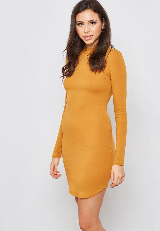 Bodycon Mock Neck Dress