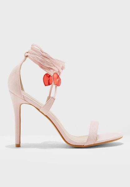 Venus Heart Detail Tie Up Barely There Heel